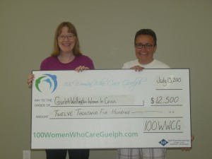 Tannis Sprott (left) presents a delighted Sly Castaldi (right), Executive Director of Guelph-Wellington Women in Crisis, with a $12,500 donation for their Transitional Housing and Support Program from 100WWCG.