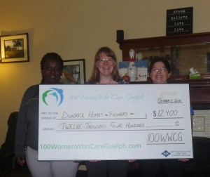 Our latest gift to Dunara Homes for Recovery was graciously accepted by Executive Director Yvonne Bowes (on right) and Yoland Webster, their Program Manager (on left), presented by 100 WWCG Organizing Member Tannis Sprott (centre).