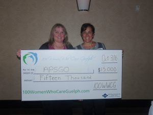 Sharon Lewis presents our Meeting 9 donation to Rosemary Fernandez-Walker, nominator of the Guelph chapter of Association of Parent Support Groups of Ontario (APSGO),